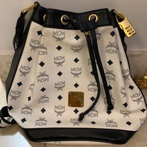 MCM Navy Blue & White Bucket Bag